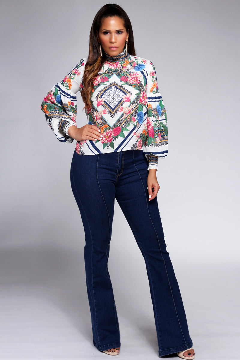 Victoria Rose Print Long Bell Sleeve Top