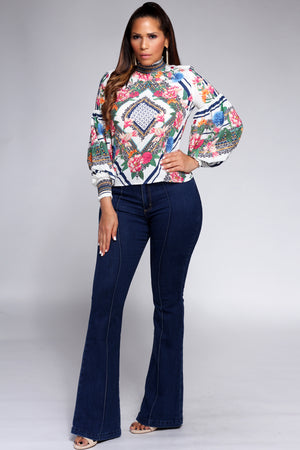 Victoria Floral Print Long Bishop Sleeve Top