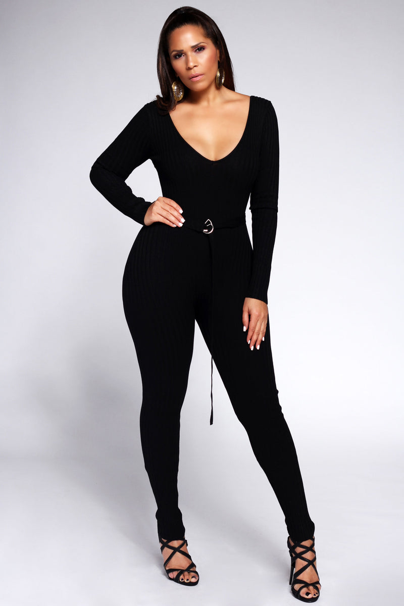 Viviana Knit Off Shoulder Long Sleeve Jumpsuit in Black