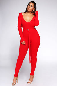 Viviana Knit Off Shoulder Long Sleeve Jumpsuit in Red