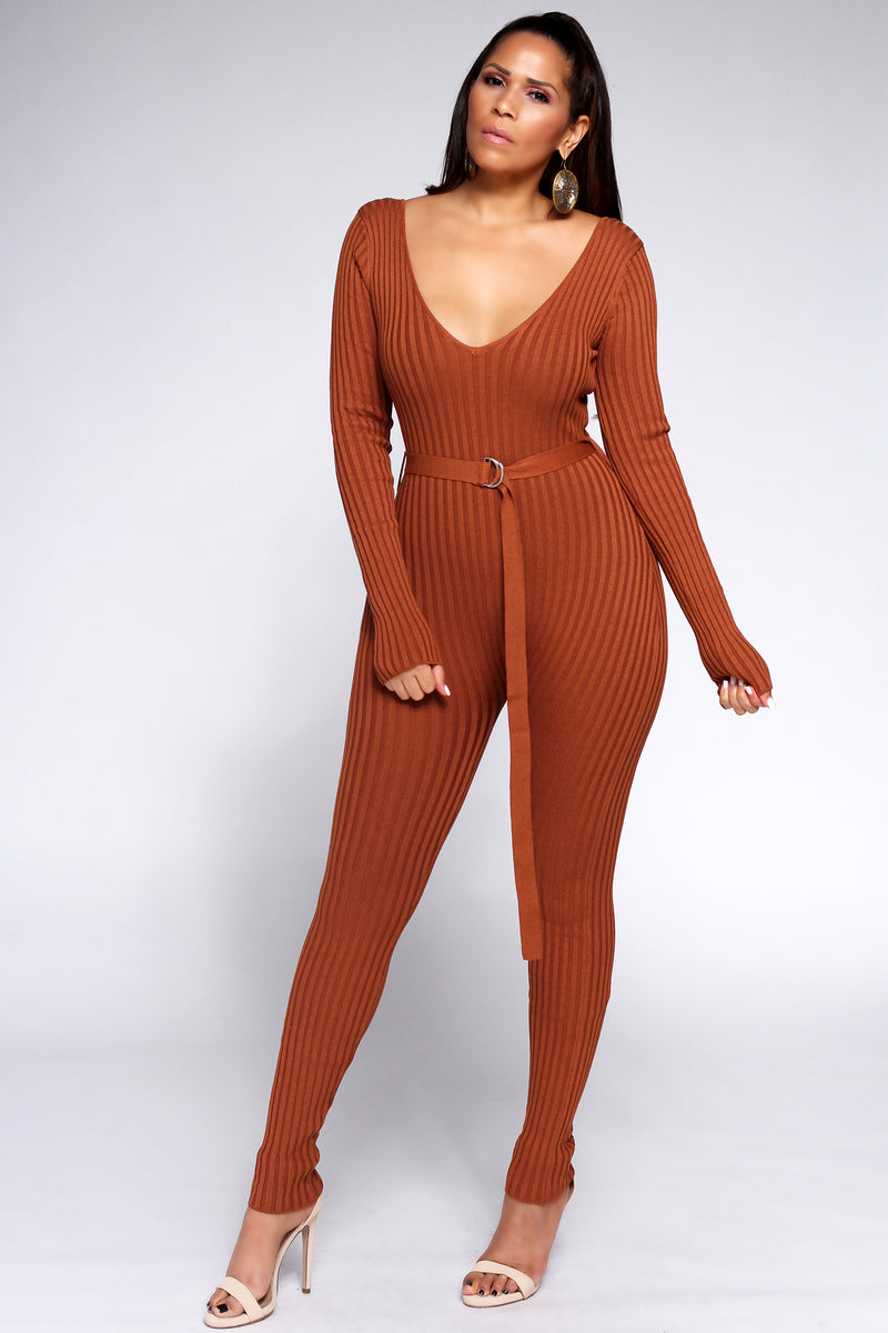 Viviana Knit Off Shoulder Long Sleeve Jumpsuit in Rust