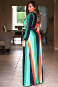 Vivienne Sexy Long Sleeves Orange Green Split Maxi Dress