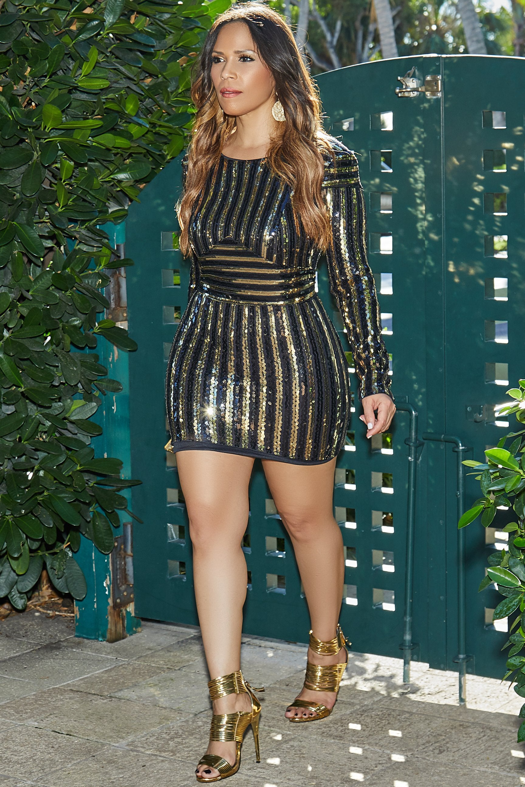 Wendy Black Gold Sequins Long Sleeves Bodycon Mini Dress My Sexy