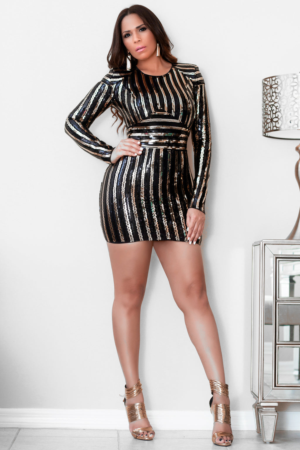 Wendy Black Gold Sequins Long Sleeves Bodycon Mini Dress