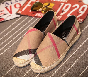 Berry Check Canvas Flat Espadrille - Classic Check
