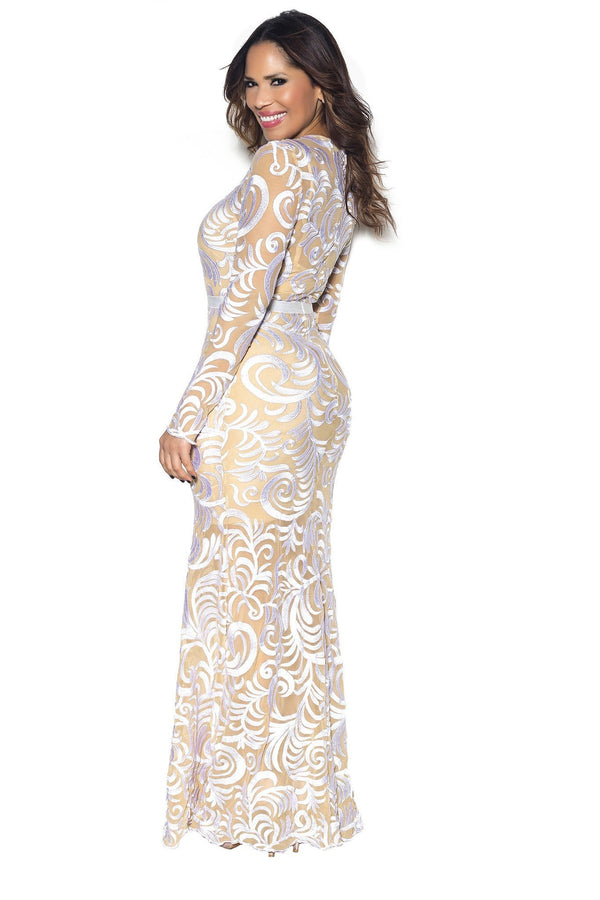 White Embroidered Long Sleeve Mermaid Maxi Dress - MY SEXY STYLES  - 4