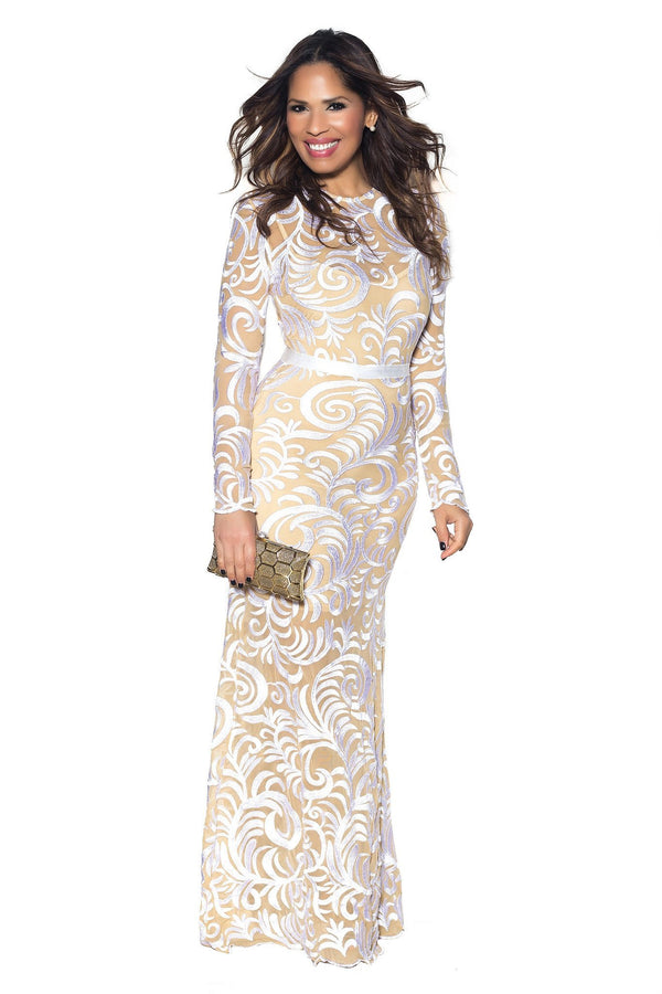 White Embroidered Long Sleeve Mermaid Maxi Dress - MY SEXY STYLES  - 1