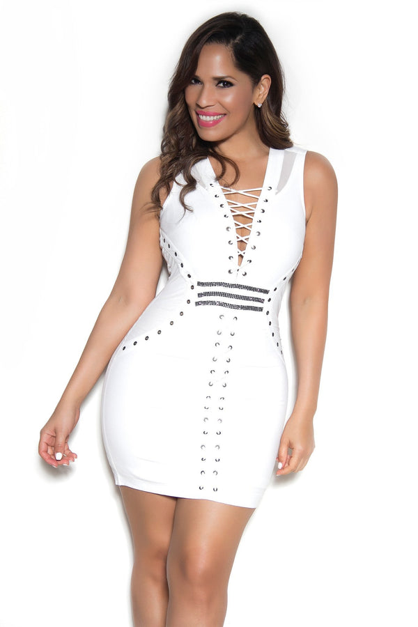 White Lace Up Sleeveless Midi Bodycon Dress - MY SEXY STYLES  - 2