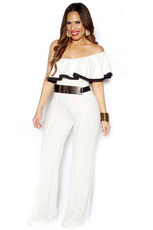 White One Shoulder Ruffle Frill Palazzo Jumpsuit