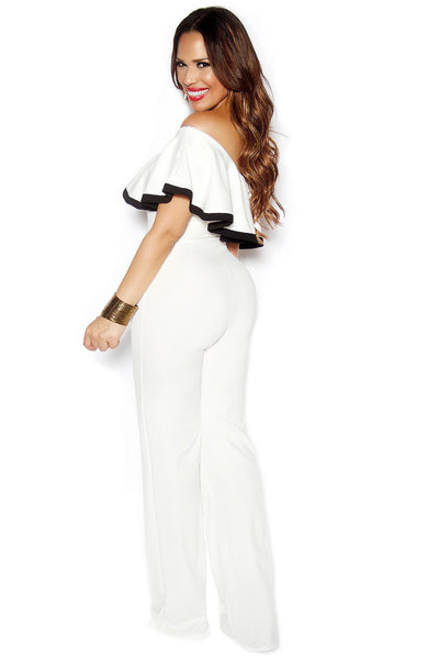 White One Shoulder Ruffle Frill Palazzo Jumpsuit - MY SEXY STYLES