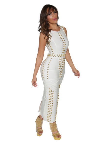 White Bandage Gold Accent Sleeveless Bodycon Maxi Dress - MY SEXY STYLES  - 2