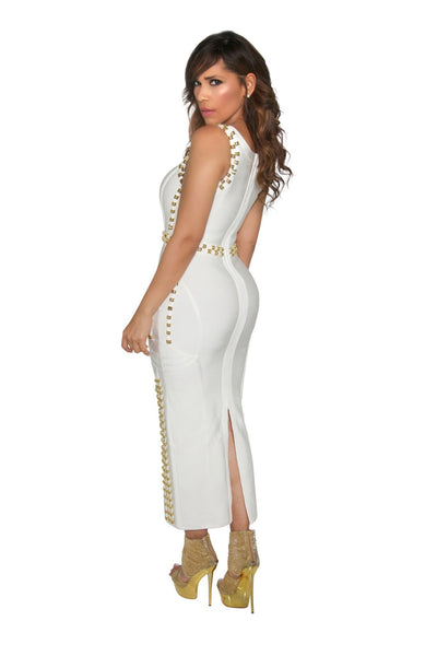 White Bandage Gold Accent Sleeveless Bodycon Maxi Dress - MY SEXY STYLES  - 3