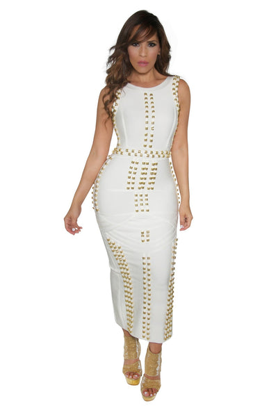 White Bandage Gold Accent Sleeveless Bodycon Maxi Dress - MY SEXY STYLES  - 1