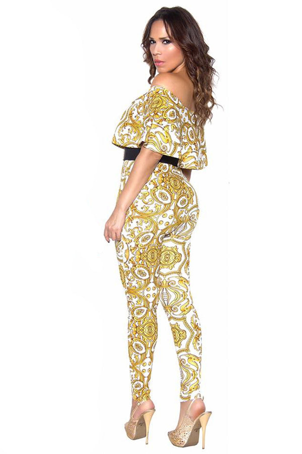 White Baroque Print Frill Sleeve Off Shoulder Bodycon Jumpsuit
