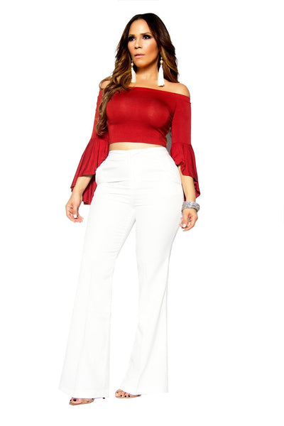 White Bell Bottom High Waist Pants