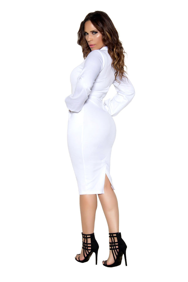 White Bodycon Long Sleeve High Neck Midi Dress - MY SEXY STYLES  - 4