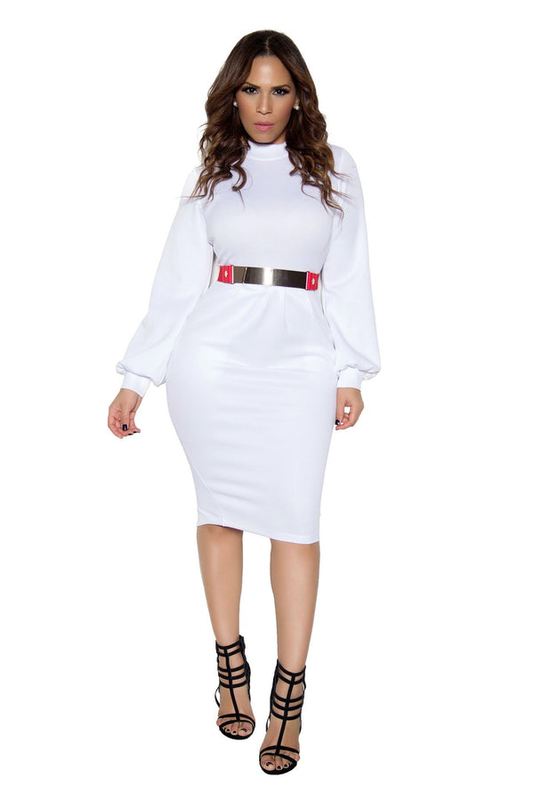 White Bodycon Long Sleeve High Neck Midi Dress - MY SEXY STYLES  - 1