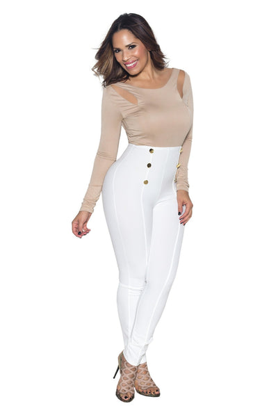 White High Waist Gold Button Accent Pants - MY SEXY STYLES  - 2