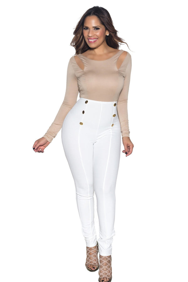 White High Waist Gold Button Accent Pants - MY SEXY STYLES  - 1
