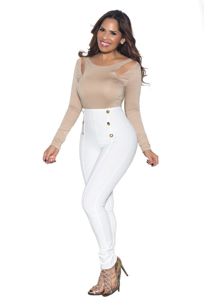 White High Waist Gold Button Accent Pants - MY SEXY STYLES  - 3