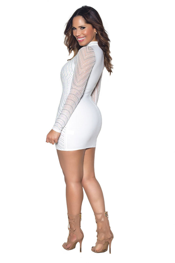 White Iridescent Long Sleeve Bodycon Dress - MY SEXY STYLES  - 6