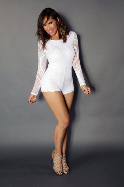 White Long Sleeve Accent Mesh Lace On White Sexy Romper - MY SEXY STYLES