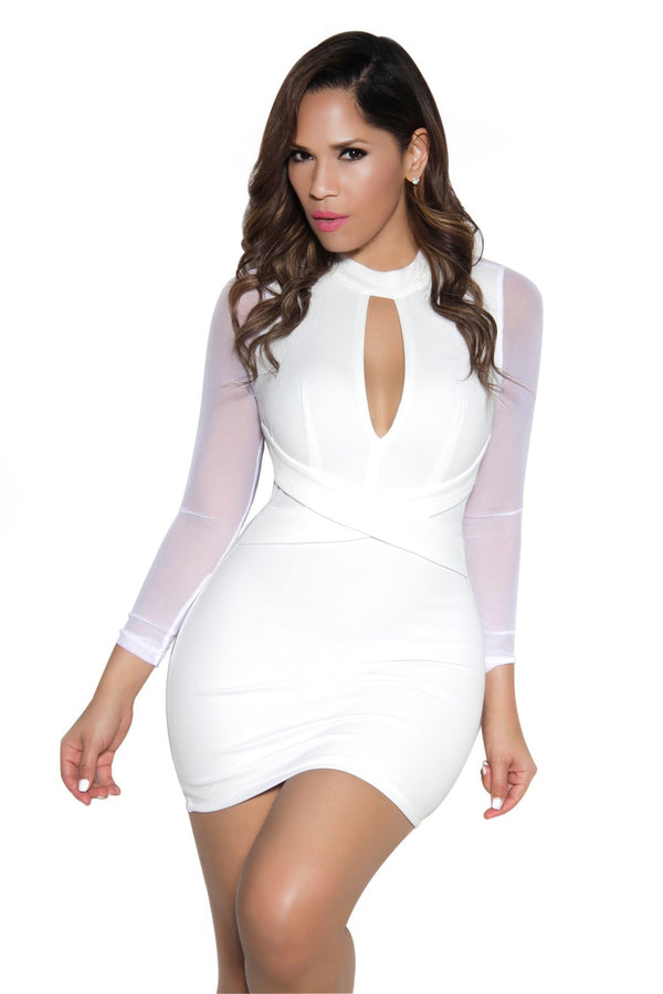 White Long Sleeve Mesh Contrast Bodycon Dress - MY SEXY STYLES  - 1