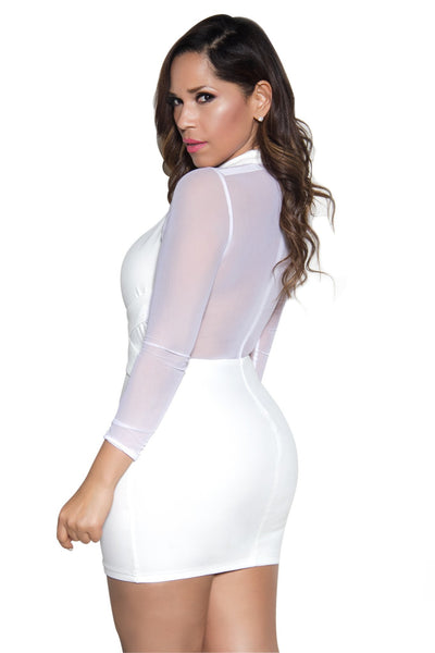 White Long Sleeve Mesh Contrast Bodycon Dress - MY SEXY STYLES  - 3