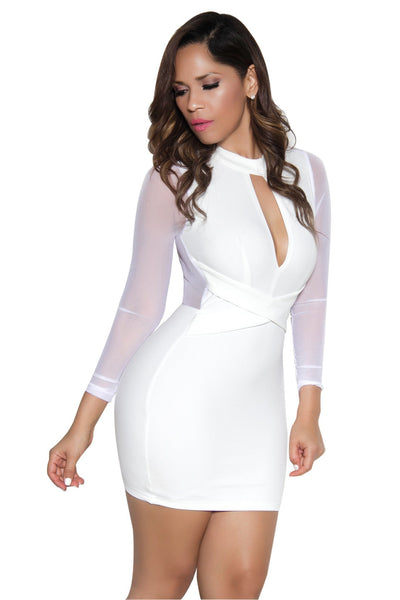 White Long Sleeve Mesh Contrast Bodycon Dress - MY SEXY STYLES  - 2