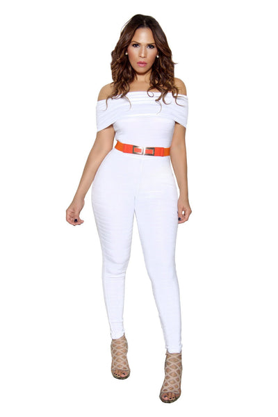 White Off Shoulder Bandage Bodycon Jumpsuit - MY SEXY STYLES