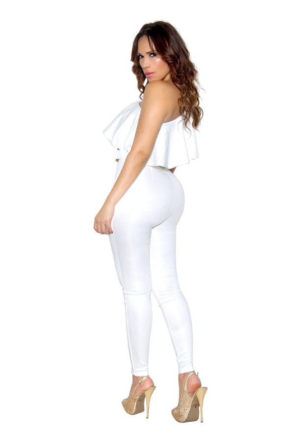White Ruffle Frill One Shoulder Bodycon Jumpsuit - MY SEXY STYLES  - 3