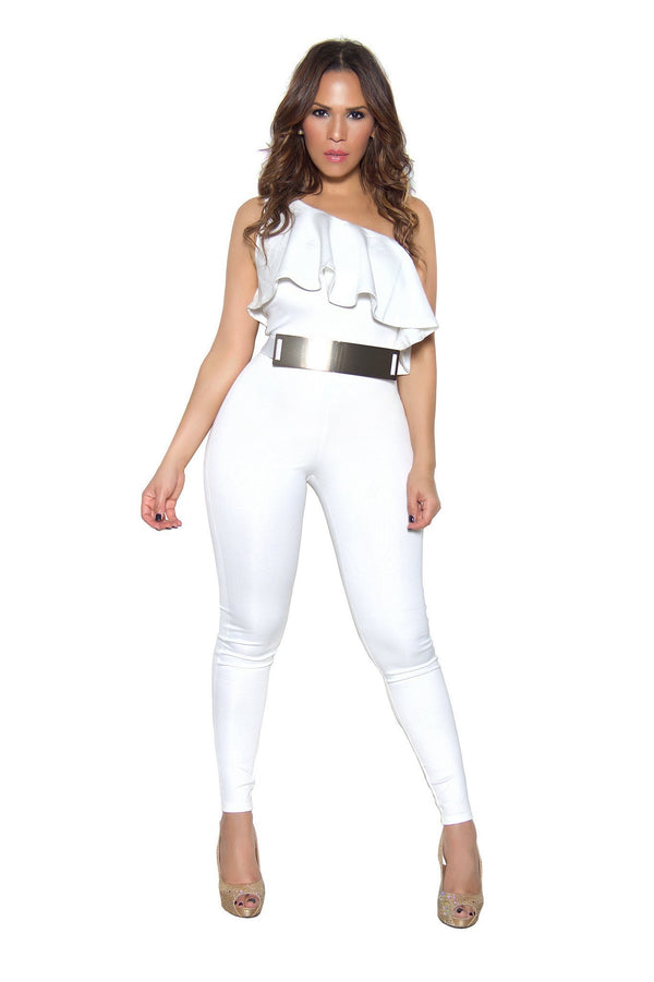 White Ruffle Frill One Shoulder Bodycon Jumpsuit - MY SEXY STYLES