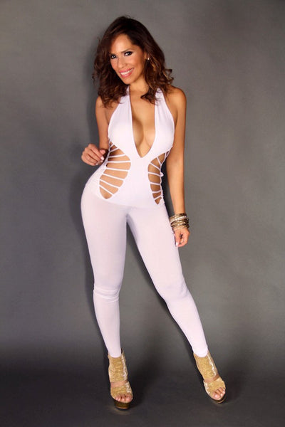 White Sexy V-Neck Halter Clubbing Jumpsuit With Waist Cutouts - MY SEXY STYLES