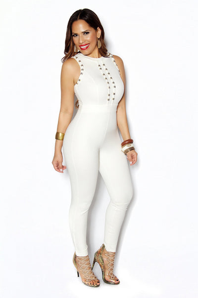 White Sleeveless Gold Accent Bodycon Jumpsuit