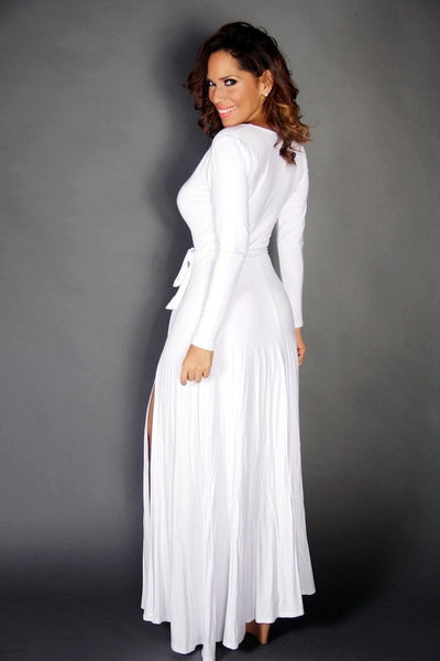 White V-Neck Long Sleeves Maxi Dress W/ Slit and Waist Tie - MY SEXY STYLES