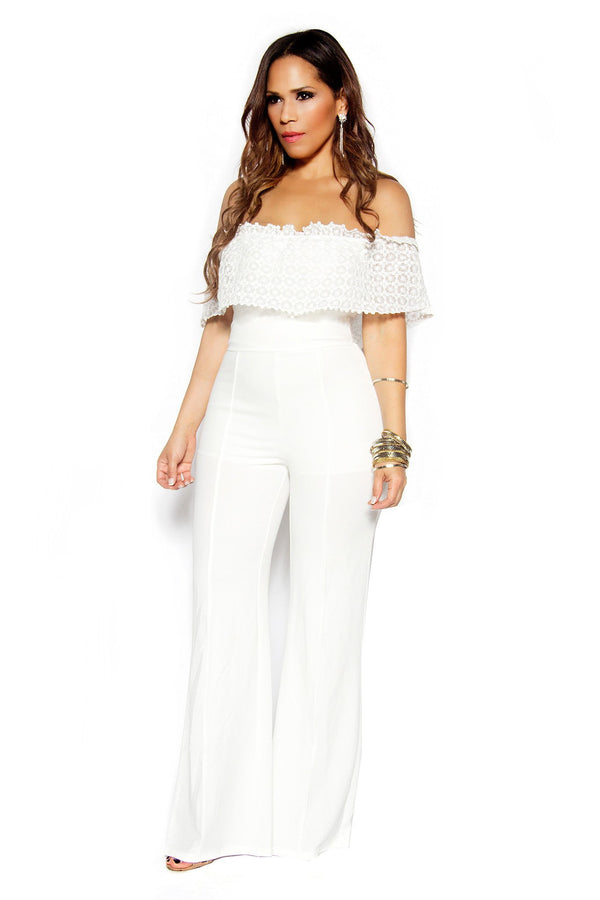 White Woven Off Shoulder Frill Palazzo Jumpsuit - MY SEXY STYLES