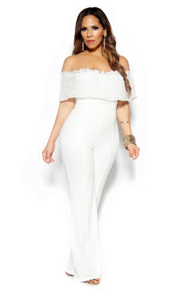 White Woven Off Shoulder Frill Palazzo Jumpsuit