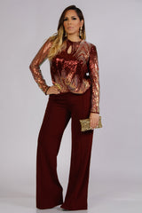 Whitney Elegant Keyhole Sequin Blouse in Burgundy