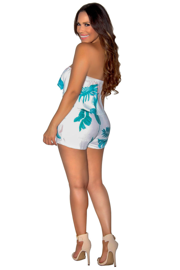 Strapless Hibiscus Print Romper With Pockets in Ivory