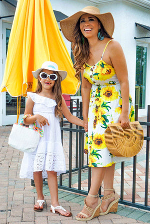 Wynne Sunflower Print Spaghetti Strap Button Down Midi Dress with Pockets