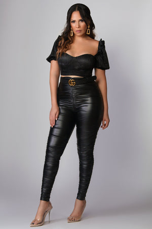 Wynter Sparkly Puff Sleeves Crop Top in Black