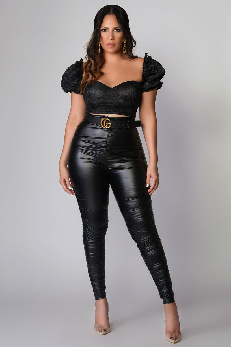 Wynter Sparkly Puff Sleeves Crop Top