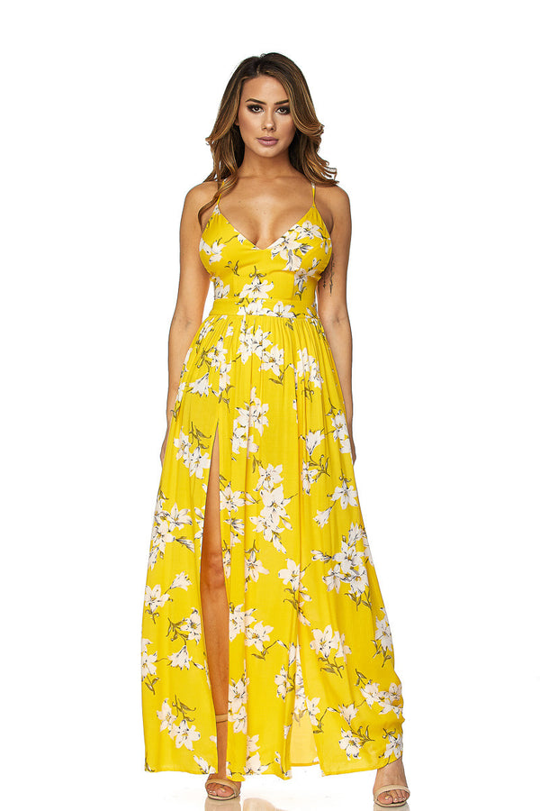 Yellow Floral V-Neck Maxi Dress W/ Side Slits - MY SEXY STYLES