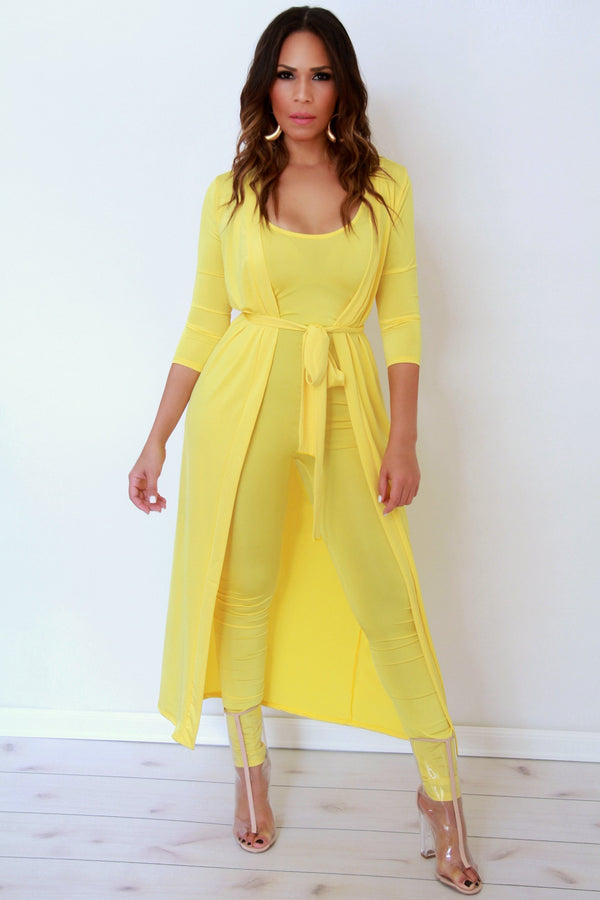Yellow Jumpsuit and Cardigan Two Piece Set