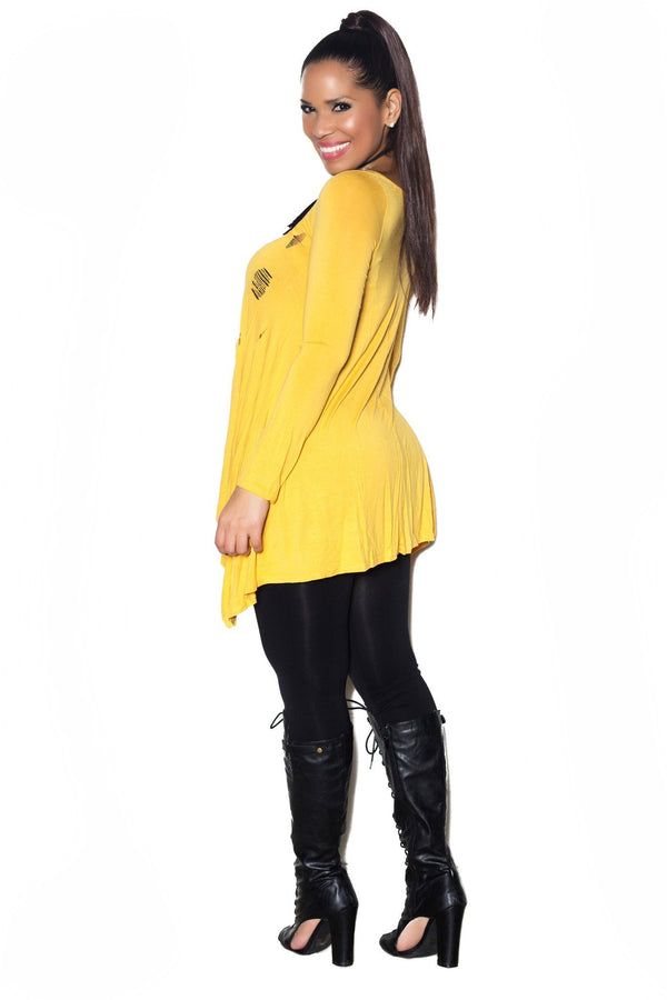 Yellow Long Sleeve Scoop Neck Distressed Top - MY SEXY STYLES  - 2
