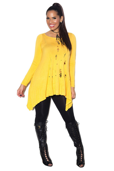 Yellow Long Sleeve Scoop Neck Distressed Top - MY SEXY STYLES  - 1