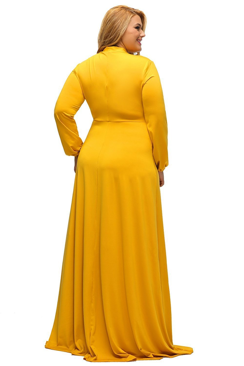 ef2079e532b Yellow Long Sleeves Bodycon Neck Tie Maxi Plus Size Dress - MY SEXY STYLES