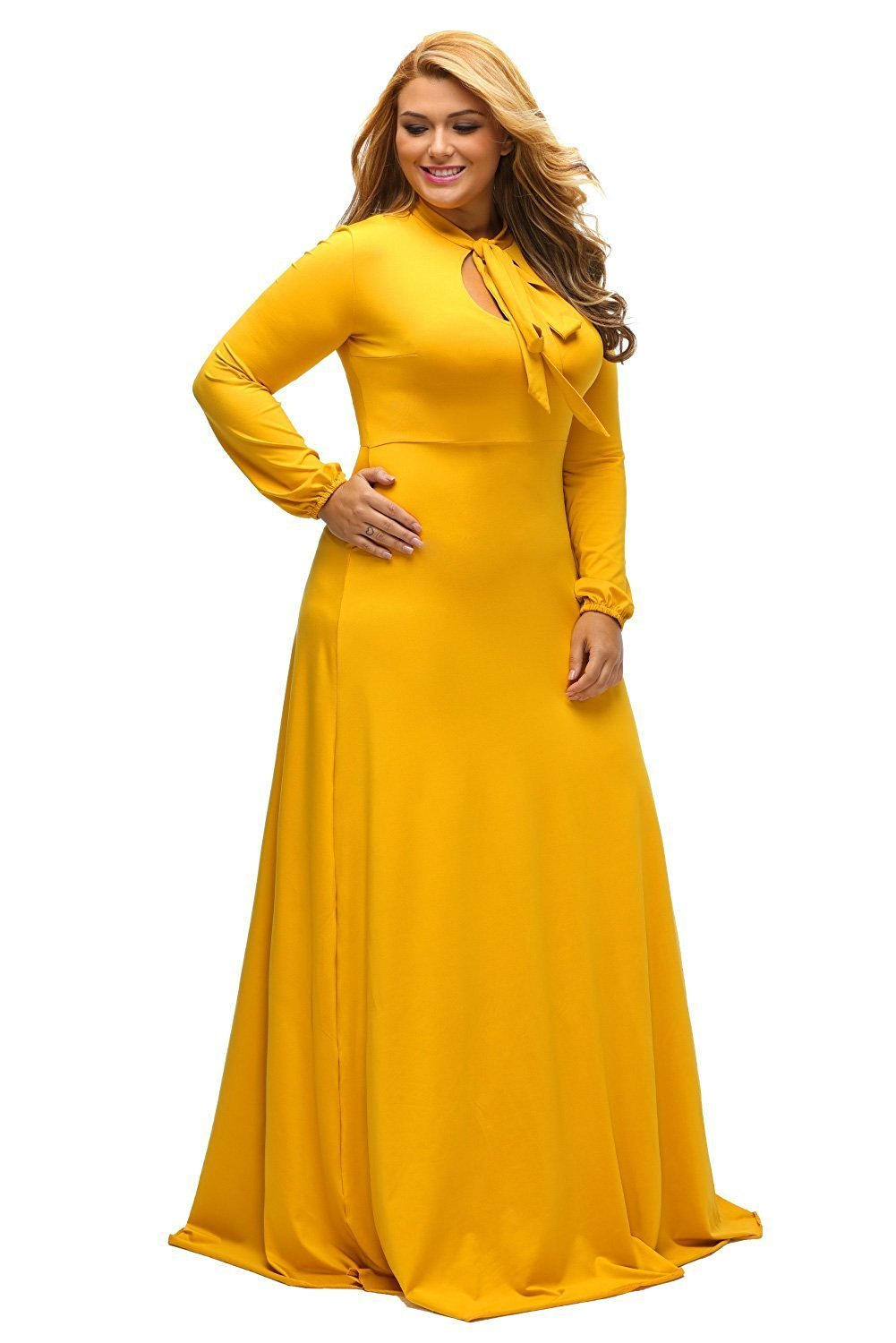 Yellow Long Sleeves Bodycon Neck Tie Maxi Plus Size Dress My Sexy