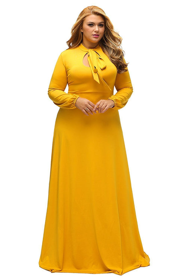 Yellow Long Sleeves Bodycon Neck Tie Maxi Plus Size Dress