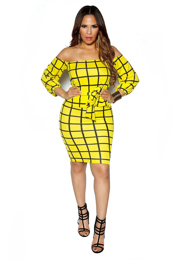 Yellow Square Print Off Shoulder Bodycon Two Piece Set